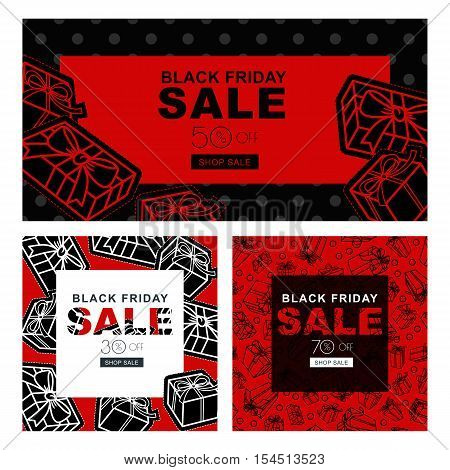 Set Of Black Friday Sale Banners With Gift Boxes. Vector Horizontal And Square Banners And Flyers.