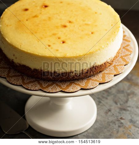 Homemade New York cheesecake on a cake stand