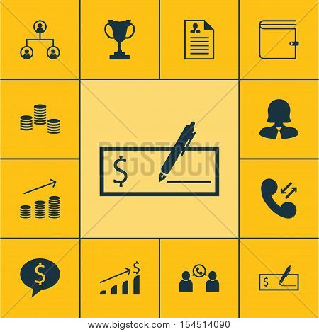 Set Of Management Icons On Bank Payment, Tree Structure And Money Topics. Editable Vector Illustrati