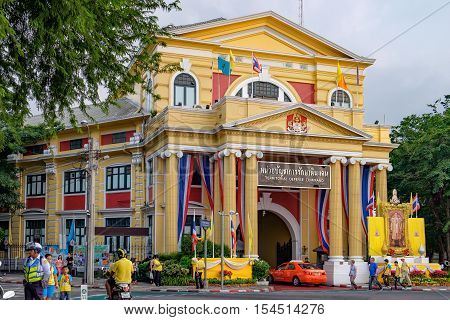 Bangkok, Thailand - December 5, 2015: Thailand Territorial Defense Command Building decorated for the celebrating of the King Rama 9 birthday