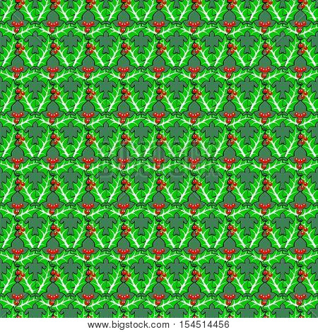 Seamless holly berries pattern. Vector traditional Christmas decoration plants on boundless background.