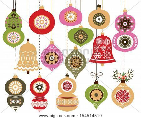 Christmas ornaments set, Holiday Christmas hanging decoration in red and green