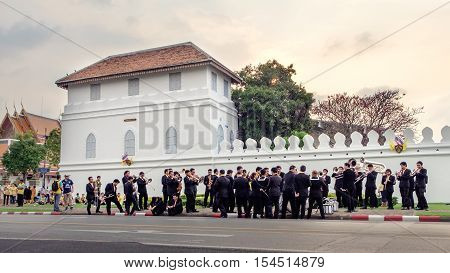 Bangkok, Thailand - December 5, 2015: The Royal Thai Army musicians in preparation for the celebration of the King Rama 9 birthday at the walls of the Grand Palace Bangkok Thailand.