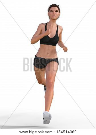 Woman Or Girl Running - Photorealistic 3D Render