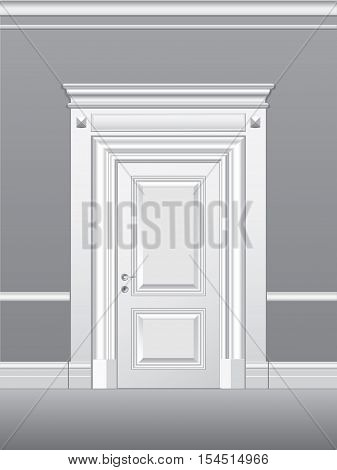 Door, architectural detail, vector illustration for design, printing and web