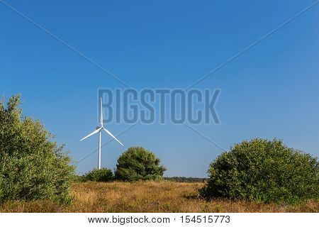 Wind generator spinning against the backdrop of the forest line. Portugal.