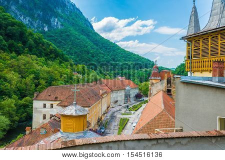 Aerial view over old architecture of the town in Herculane thermal sulfur resort, of Europe Romania