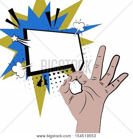 Hand sign comic retro pop art style white bubble. Gestures okay. Cartoon comic vector colored speech bubble. Halftone hand drawn finger, ok sign. Like positive hand sign. Color pop art background