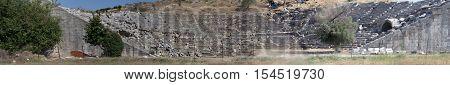 Old Roman Amphitheater wide view in Turkey