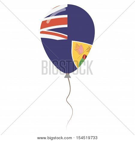 Turks And Caicos Islands National Colors Isolated Balloon On White Background. Independence Day Patr
