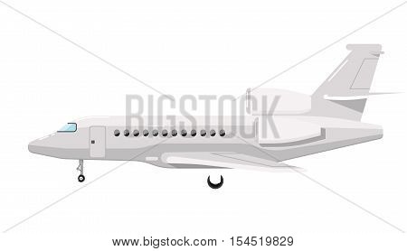 Side view of airplane isolated on white background vector illustration. Business aircraft. Passenger and freight transportation. Aircraft jet aviation. Modern airliner. Flat design style.