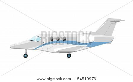 Side view of airplane isolated on white background vector illustration. Business aircraft. Passenger and freight transportation. Private aircraft jet aviation. Modern airliner. Flat design style.