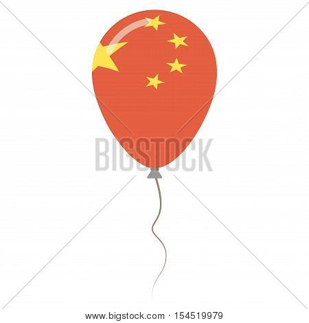 People's Republic Of China National Colors Isolated Balloon On White Background. Independence Day Pa
