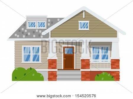 House isolated on white background. Vector house or family home isolated. House exterior, house facade vector. Flat residential house and detailed house exterior. House icon. House illustration. Home icon. Real estate house. House or home logo. Cottage.