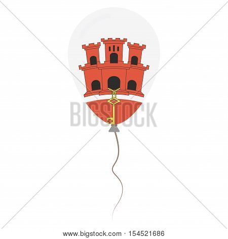 Gibraltar National Colors Isolated Balloon On White Background. Independence Day Patriotic Poster. F