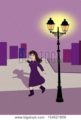 A young girl, walking alone on the street, at night.