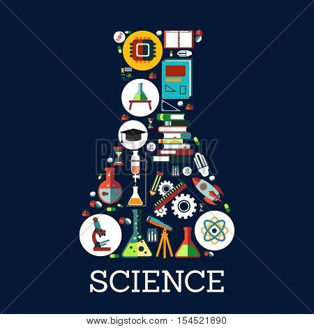 Science conceptual emblem in shape of chemistry laboratory beaker flask. Science, education and knowledge symbol combined of vector flat icons book, rocket lamp, dna, charts, graphs, globe, microscope, monitor, atom, telescope