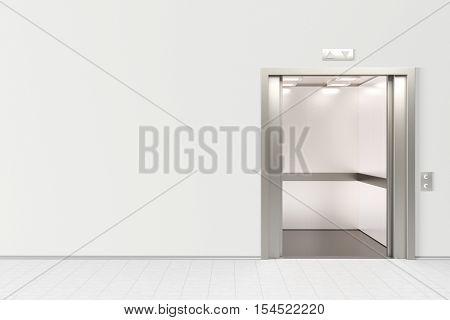 Empty open elevator in office lobby. 3d illustration