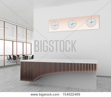 White office lobby with a empty reception desk. 3d illustration