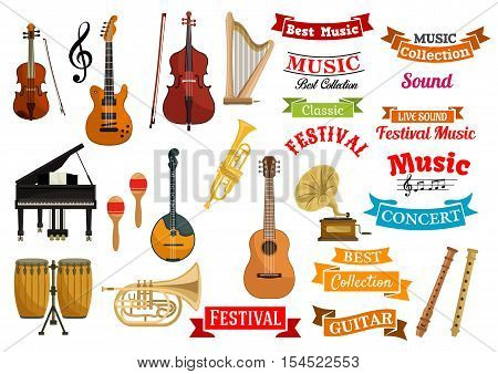 Music instruments. Ribbons, labels, emblems for musical festival, live concert, classic performance decoration design. Vector icons of musical string and wind instruments violin, guitar, harp, cymbals, saxophone