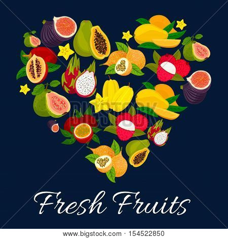 I love fresh fruits emblem in heart shape with flat icons of exotic tropical fruits. Whole and half cut figs, mango, papaya, lychee, dragon fruit, carambola, guava, passion fruit