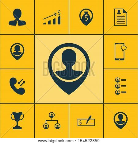 Set Of Human Resources Icons On Pin Employee, Tree Structure And Job Applicants Topics. Editable Vec