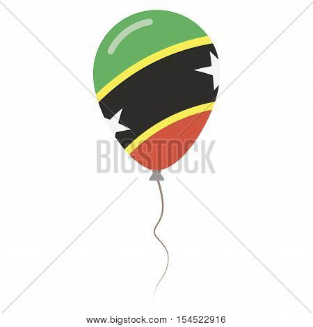 Saint Kitts And Nevis National Colors Isolated Balloon On White Background. Independence Day Patriot