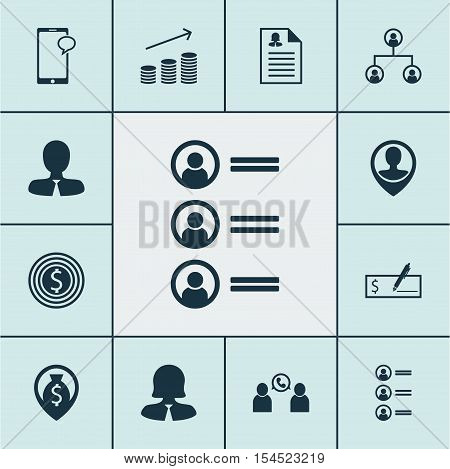 Set Of Hr Icons On Manager, Business Goal And Bank Payment Topics. Editable Vector Illustration. Inc