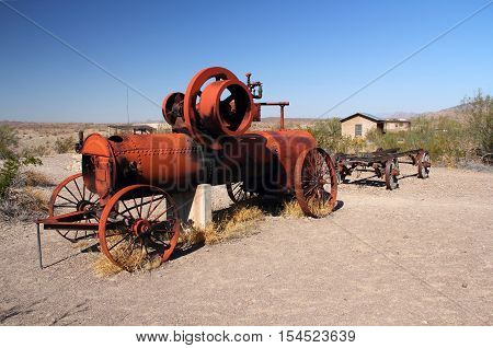 Abandoned farming machinery in the Costolon section of Big Bend National Park, Texas