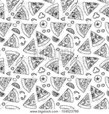 Hand Drawn Vector Seamless Pattern - Pizza. Types Of Pizza: Pepperoni, Margherita, Hawaiian, Mushroo