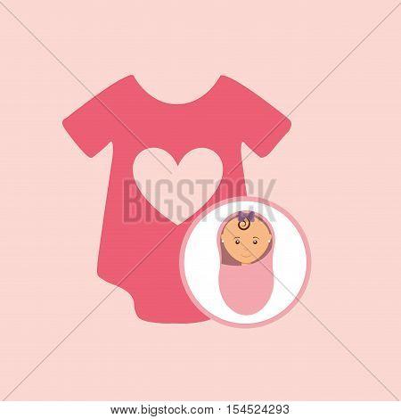 cute newborn girl on pink blanket and onesie vector illustration eps 10