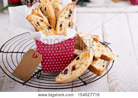 Christmas biscotti for cookie swap with fruits and nuts in a gift box