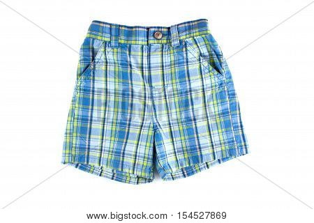 Children plaid shorts isolated on white background. Clothing isolated