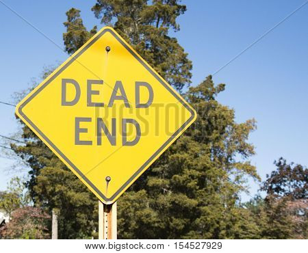 Yellow Dead End sign with trees in the background