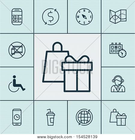 Set Of Travel Icons On Call Duration, Shopping And Road Map Topics. Editable Vector Illustration. In