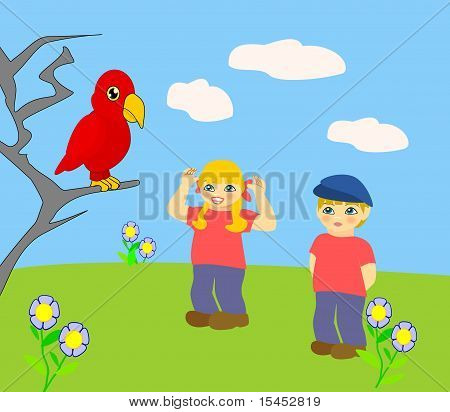 Two children looking at a red parrot. poster