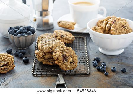 Healthy oatmeal cookies with dried fruits and nuts