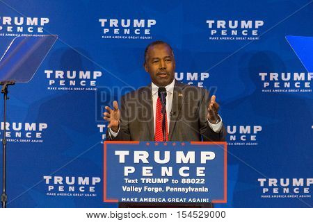 King of Prussia PA - November 1 2016: Republican presidential candidate Dr. Ben Carson introduces Mike Pence candidate for Vice President who vowed to repeal and replace Obamacare at a media event at Valley Forge Pennsylvania.