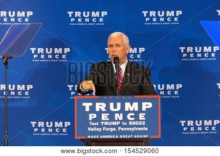 King of Prussia PA - November 1 2016: Mike Pence the Republican candidate for Vice President vows to repeal and replace Obamacare before introducing Donald Trump near Valley Forge Pennsylvania.