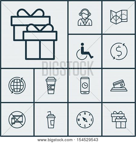 Set Of Airport Icons On Locate, Present And Drink Cup Topics. Editable Vector Illustration. Includes
