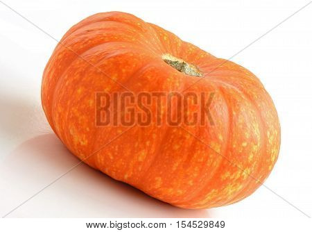 Speckled orange pumpkin on white background shot in natural light. Macro with shallow depth of field.