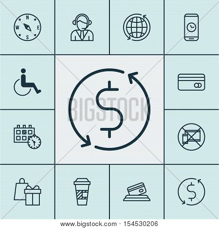 Set Of Travel Icons On Operator, Shopping And Money Trasnfer Topics. Editable Vector Illustration. I
