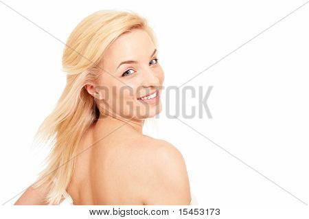 Beautiful Blonde Woman With Naked Shoulders