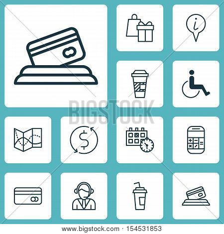 Set Of Airport Icons On Appointment, Takeaway Coffee And Calculation Topics. Editable Vector Illustr
