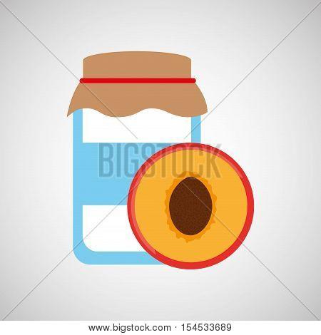 jar cute blue with peach jam graphic vector illustration eps 10