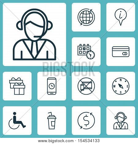 Set Of Traveling Icons On Forbidden Mobile, Drink Cup And Accessibility Topics. Editable Vector Illu