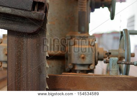 Close up blade of bandsaw , vertical band saw