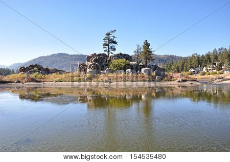 An island stands in Boulder Bay at Big Bear Lake in Southern California.