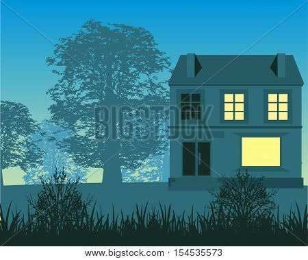 The Silhouette of the building in matutinal wood.Vector illustration