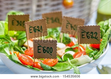 Closeup of healthy salad with no preservatives